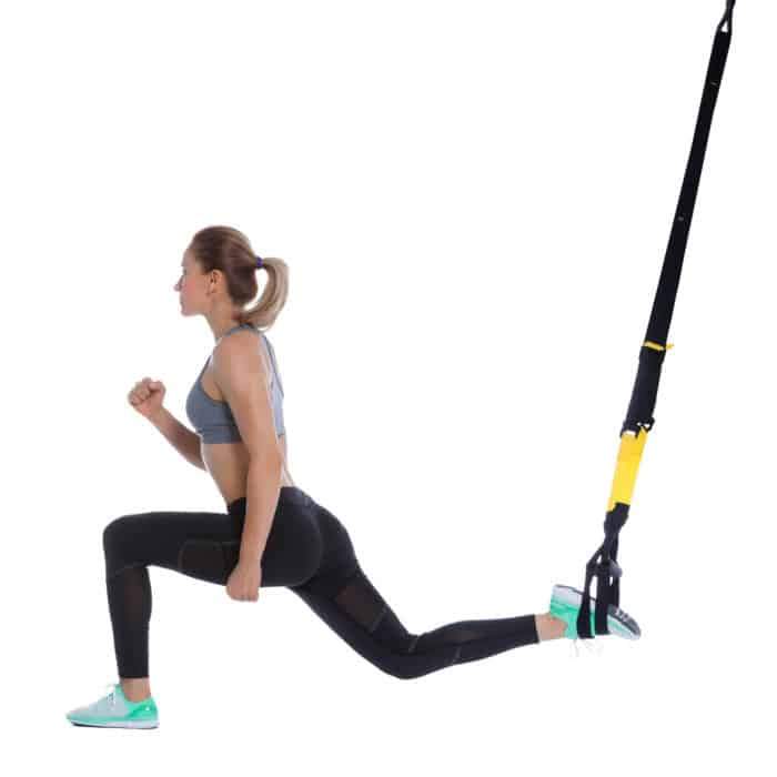 Girl performing TRX-Split-Squat